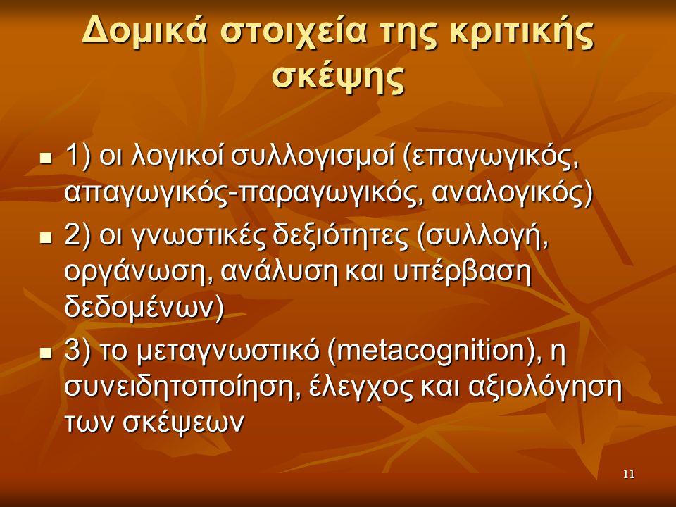 11 Δομικά στοιχεία της κριτικής σκέψης 1) οι λογικοί συλλογισμοί (επαγωγικός, απαγωγικός-παραγωγικός, αναλογικός) 1) οι λογικοί συλλογισμοί (επαγωγικός, απαγωγικός-παραγωγικός, αναλογικός) 2) οι γνωστικές δεξιότητες (συλλογή, οργάνωση, ανάλυση και υπέρβαση δεδομένων) 2) οι γνωστικές δεξιότητες (συλλογή, οργάνωση, ανάλυση και υπέρβαση δεδομένων) 3) το μεταγνωστικό (metacognition), η συνειδητοποίηση, έλεγχος και αξιολόγηση των σκέψεων 3) το μεταγνωστικό (metacognition), η συνειδητοποίηση, έλεγχος και αξιολόγηση των σκέψεων