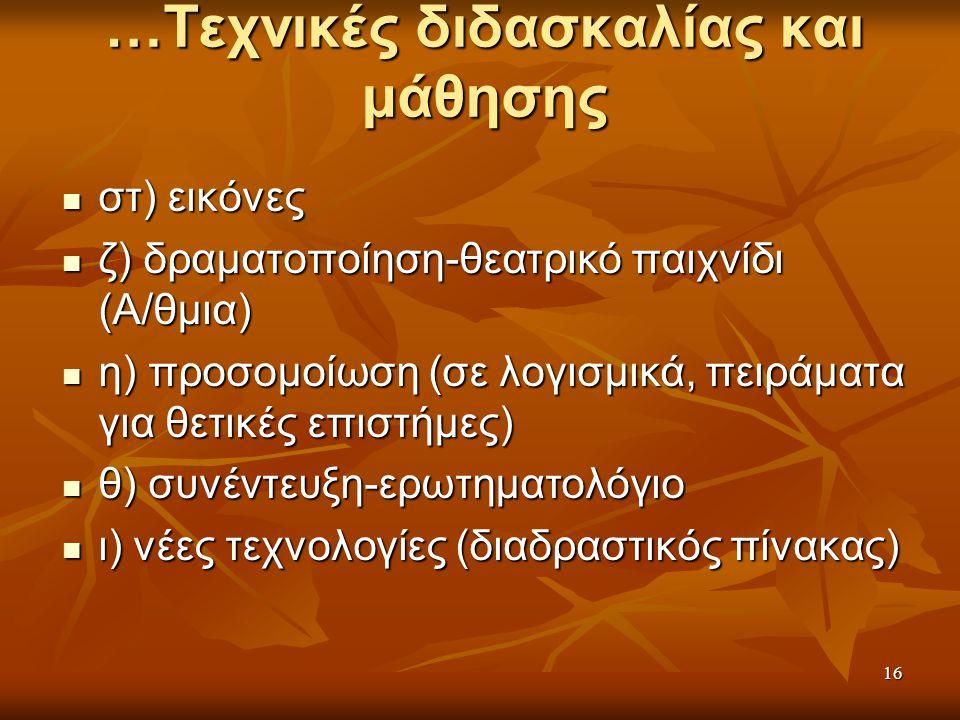 …Τεχνικές διδασκαλίας και μάθησης στ) εικόνες στ) εικόνες ζ) δραματοποίηση-θεατρικό παιχνίδι (Α/θμια) ζ) δραματοποίηση-θεατρικό παιχνίδι (Α/θμια) η) προσομοίωση (σε λογισμικά, πειράματα για θετικές επιστήμες) η) προσομοίωση (σε λογισμικά, πειράματα για θετικές επιστήμες) θ) συνέντευξη-ερωτηματολόγιο θ) συνέντευξη-ερωτηματολόγιο ι) νέες τεχνολογίες (διαδραστικός πίνακας) ι) νέες τεχνολογίες (διαδραστικός πίνακας) 16