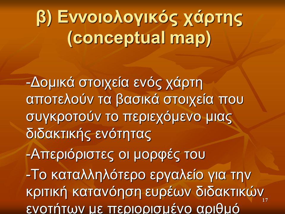 β) Εννοιολογικός χάρτης (conceptual map) -Δομικά στοιχεία ενός χάρτη αποτελούν τα βασικά στοιχεία που συγκροτούν το περιεχόμενο μιας διδακτικής ενότητας -Απεριόριστες οι μορφές του -Το καταλληλότερο εργαλείο για την κριτική κατανόηση ευρέων διδακτικών ενοτήτων με περιορισμένο αριθμό στοιχείων 17