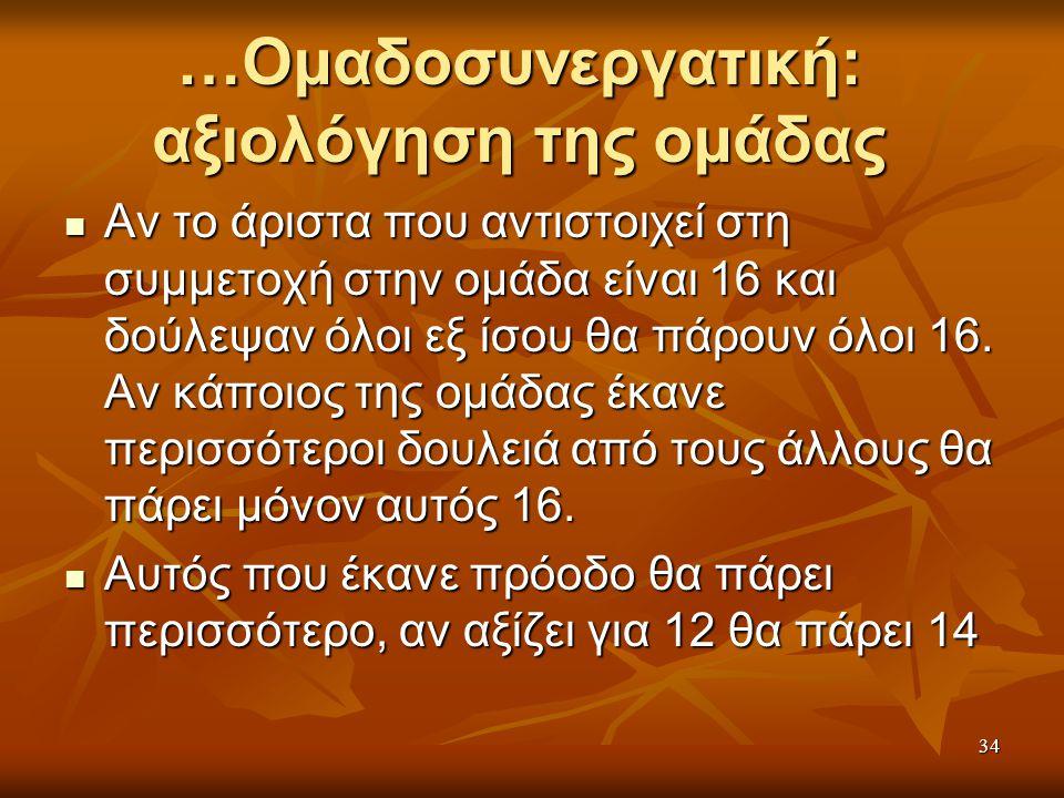 …Ομαδοσυνεργατική: αξιολόγηση της ομάδας Αν το άριστα που αντιστοιχεί στη συμμετοχή στην ομάδα είναι 16 και δούλεψαν όλοι εξ ίσου θα πάρουν όλοι 16.