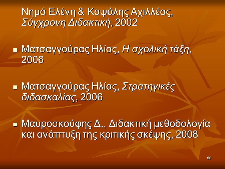 Νημά Ελένη & Καψάλης Αχιλλέας, Σύγχρονη Διδακτική, 2002 Ματσαγγούρας Ηλίας, Η σχολική τάξη, 2006 Ματσαγγούρας Ηλίας, Η σχολική τάξη, 2006 Ματσαγγούρας Ηλίας, Στρατηγικές διδασκαλίας, 2006 Ματσαγγούρας Ηλίας, Στρατηγικές διδασκαλίας, 2006 Μαυροσκούφης Δ., Διδακτική μεθοδολογία και ανάπτυξη της κριτικής σκέψης, 2008 Μαυροσκούφης Δ., Διδακτική μεθοδολογία και ανάπτυξη της κριτικής σκέψης, 2008 60