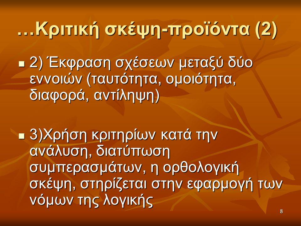 8 …Κριτική σκέψη-προϊόντα (2) 2) Έκφραση σχέσεων μεταξύ δύο εννοιών (ταυτότητα, ομοιότητα, διαφορά, αντίληψη) 2) Έκφραση σχέσεων μεταξύ δύο εννοιών (ταυτότητα, ομοιότητα, διαφορά, αντίληψη) 3)Χρήση κριτηρίων κατά την ανάλυση, διατύπωση συμπερασμάτων, η ορθολογική σκέψη, στηρίζεται στην εφαρμογή των νόμων της λογικής 3)Χρήση κριτηρίων κατά την ανάλυση, διατύπωση συμπερασμάτων, η ορθολογική σκέψη, στηρίζεται στην εφαρμογή των νόμων της λογικής