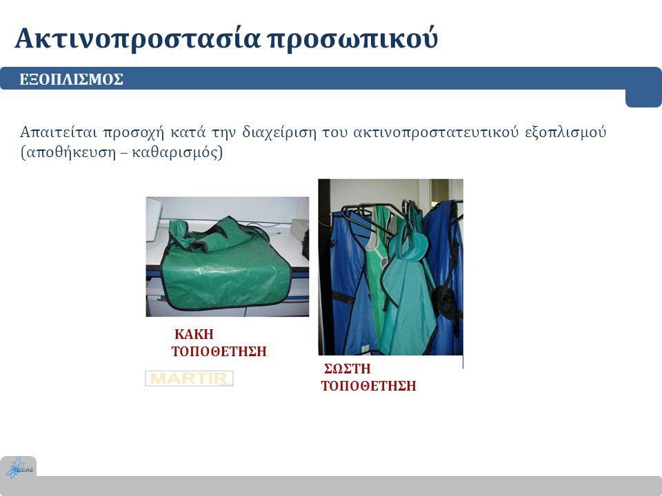 Ακτινοπροστασία προσωπικού ΕΞΟΠΛΙΣΜΟΣ Απαιτείται προσοχή κατά την διαχείριση του ακτινοπροστατευτικού εξοπλισμού (αποθήκευση – καθαρισμός) ΚΑΚΗ ΤΟΠΟΘΕ
