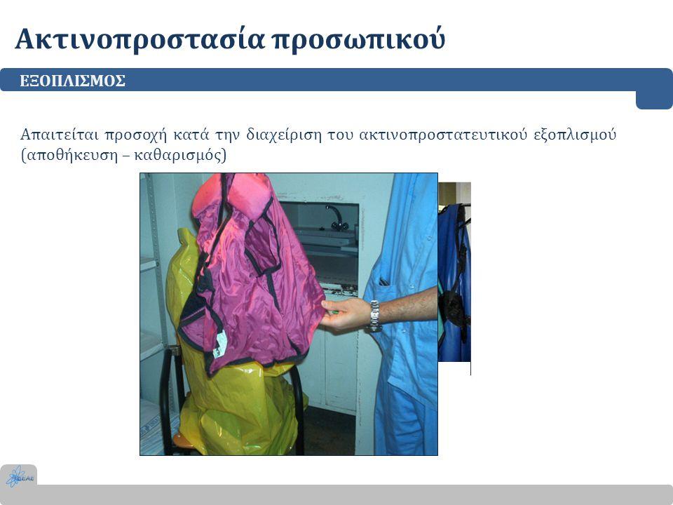 Ακτινοπροστασία προσωπικού ΕΞΟΠΛΙΣΜΟΣ Απαιτείται προσοχή κατά την διαχείριση του ακτινοπροστατευτικού εξοπλισμού (αποθήκευση – καθαρισμός) ΚΑΚΗ ΤΟ ΠΟΘ