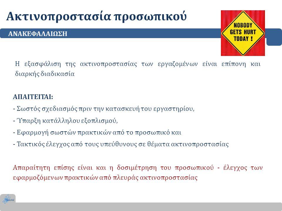 Ακτινοπροστασία προσωπικού ΑΝΑΚΕΦΑΛΑΙΩΣΗ Η εξασφάλιση της ακτινοπροστασίας των εργαζομένων είναι επίπονη και διαρκής διαδικασία ΑΠΑΙΤΕΙΤΑΙ: - Σωστός σ