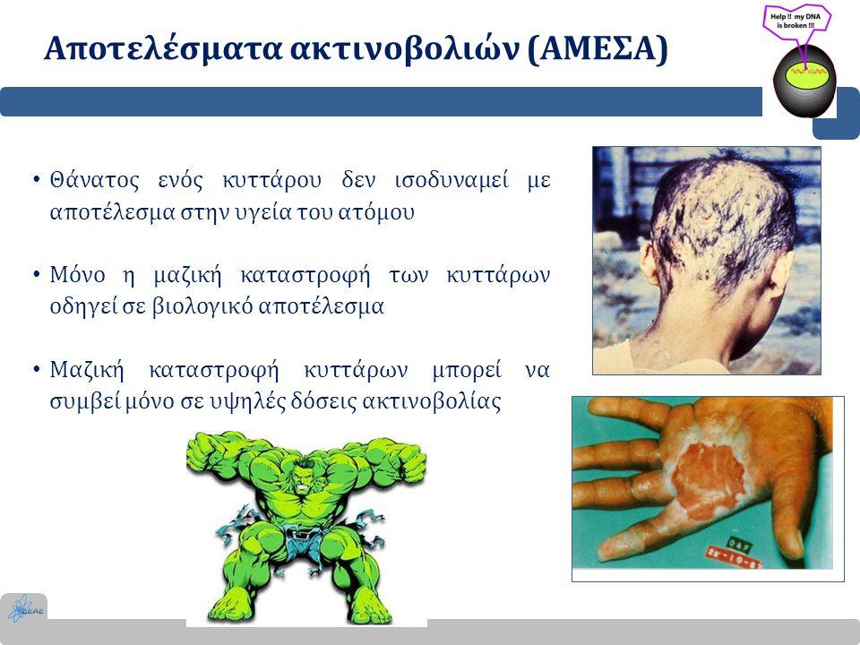 Αποτελέσματα ακτινοβολιών (ΑΜΕΣΑ) ΒλάβηΣυμπτώματα Δόση κατωφλίου Χρόνος εκδήλωσης Σύνδρομο αιμοποιητικού συστήματος Λεμφομενία, αιμοραγία, αναιμία 2 Gy24 ώρες Σύνδρομο γαστρεντερικού συστήματος Ναυτία, εμετός, διάρροια, έλκη, εντερική αιμορραγία 7 Gy7 εβδομάδες Σύνδρομο κεντρικού νευρικού συστήματος Εγκεφαλικό οίδημα, μείωση του ενδοαγγειακού όγκου αίματος 50 GyΘάνατος σε 1-4 ημέρες Η δόση από μια τυπική ακτινογραφία θώρακος είναι 0,0005Gy, ενώ από μια ολόσωμη αξονική τομογραφία 0,015Gy.