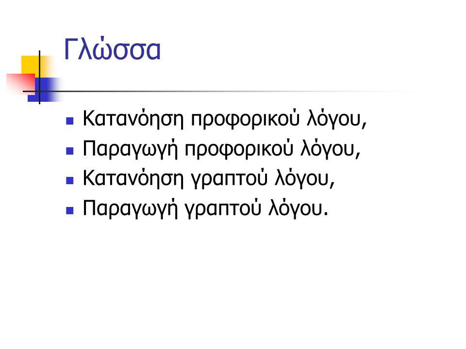 Γλώσσα Κατανόηση προφορικού λόγου, Παραγωγή προφορικού λόγου, Κατανόηση γραπτού λόγου, Παραγωγή γραπτού λόγου.