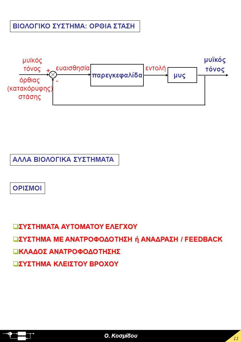 Ο. Κοσμίδου Σ 11 παρεγκεφαλίδα ευαισθησία μυς μυϊκός τόνος εντολή μυϊκός τόνος όρθιας (κατακόρυφης) στάσης + - ΒΙΟΛΟΓΙΚΟ ΣΥΣΤΗΜΑ: ΟΡΘΙΑ ΣΤΑΣΗ ΑΛΛΑ ΒΙΟ
