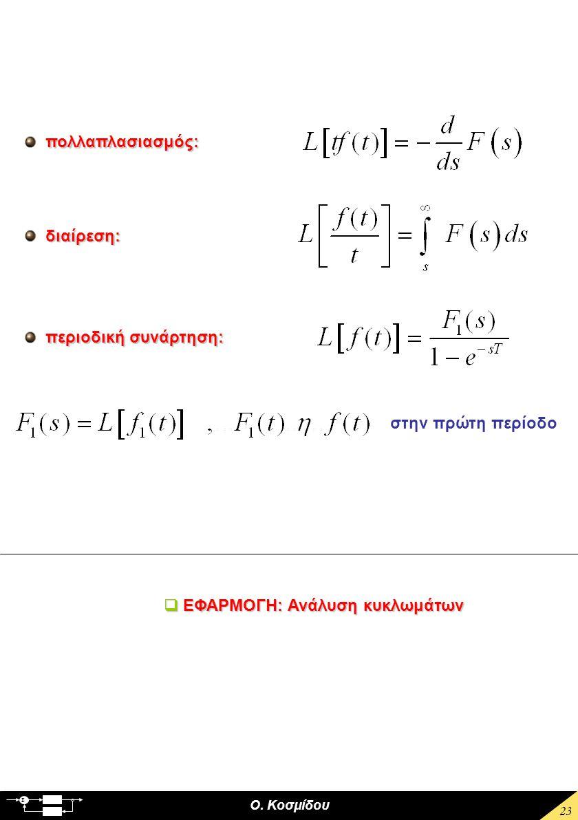 Ο. Κοσμίδου Σ 23 πολλαπλασιασμός: διαίρεση: περιοδική συνάρτηση: στην πρώτη περίοδο  ΕΦΑΡΜΟΓΗ: Ανάλυση κυκλωμάτων