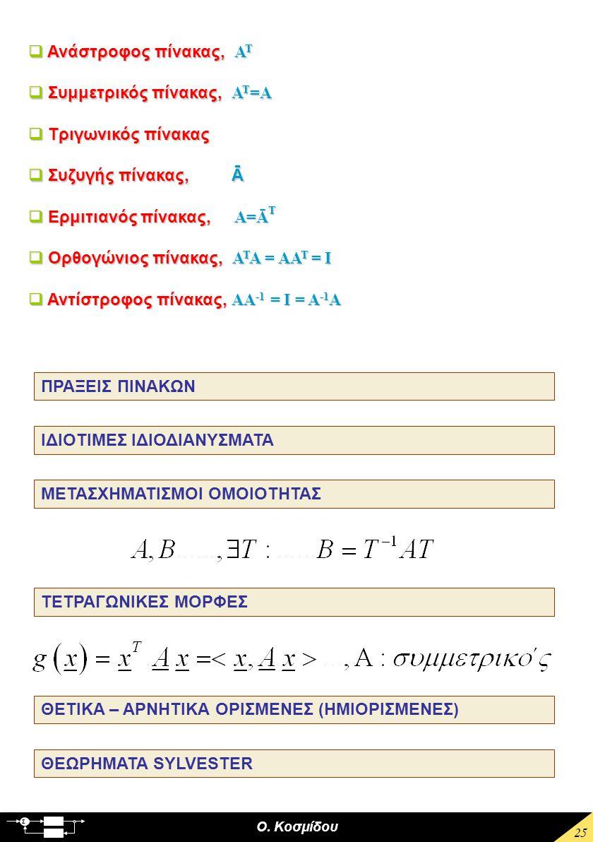 Ο. Κοσμίδου Σ 25  Ανάστροφος πίνακας, Α Τ  Συμμετρικός πίνακας, Α Τ =Α  Τριγωνικός πίνακας  Συζυγής πίνακας, Ā  Ερμιτιανός πίνακας, Α=Ā Τ  Ορθογ