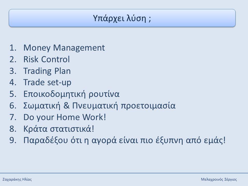 Ζαχαράκης Ηλίας Μελαχροινός Σέργιος Υπάρχει λύση ; 1.Money Management 2.Risk Control 3.Trading Plan 4.Trade set-up 5.Εποικοδομητική ρουτίνα 6.Σωματική