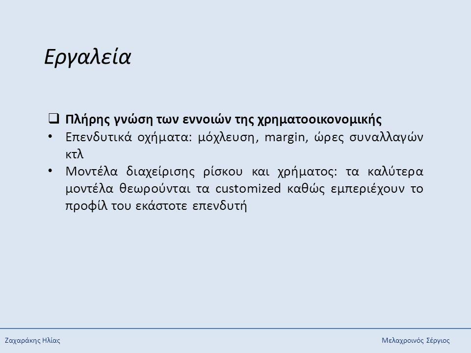 Ζαχαράκης ΗλίαςΜελαχροινός Σέργιος Εργαλεία  Πλήρης γνώση των εννοιών της χρηματοοικονομικής Επενδυτικά οχήματα: μόχλευση, margin, ώρες συναλλαγών κτ