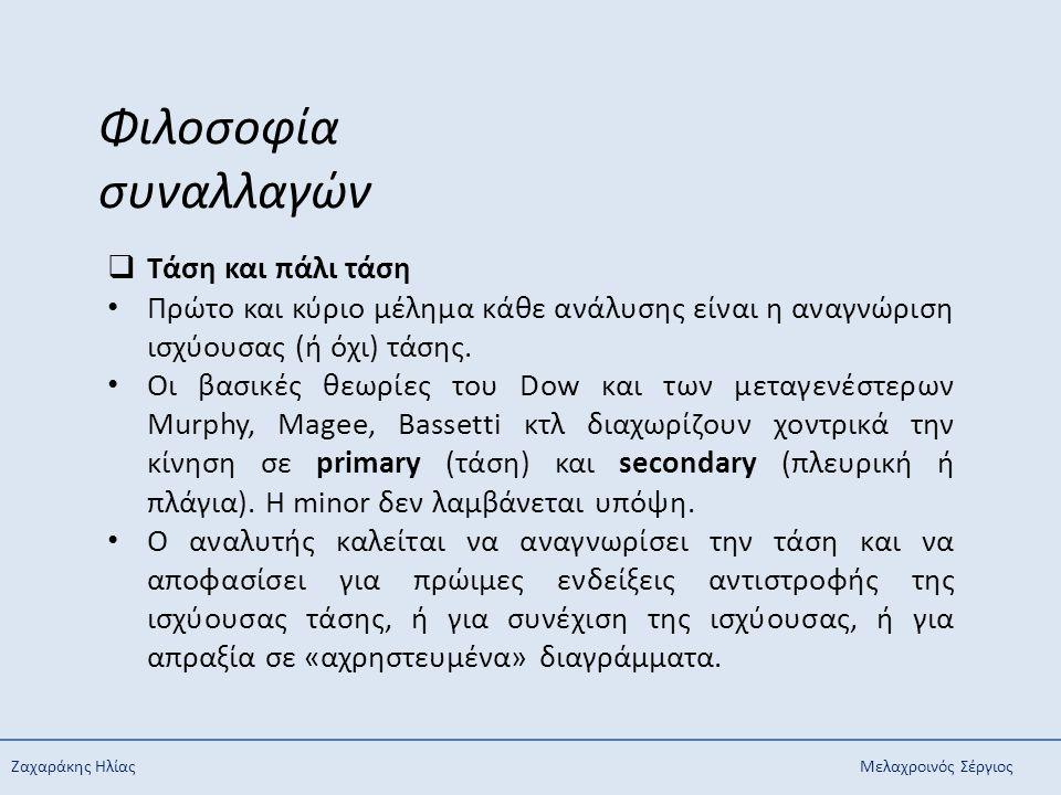 Ζαχαράκης ΗλίαςΜελαχροινός Σέργιος Φιλοσοφία συναλλαγών  Τάση και πάλι τάση Πρώτο και κύριο μέλημα κάθε ανάλυσης είναι η αναγνώριση ισχύουσας (ή όχι)