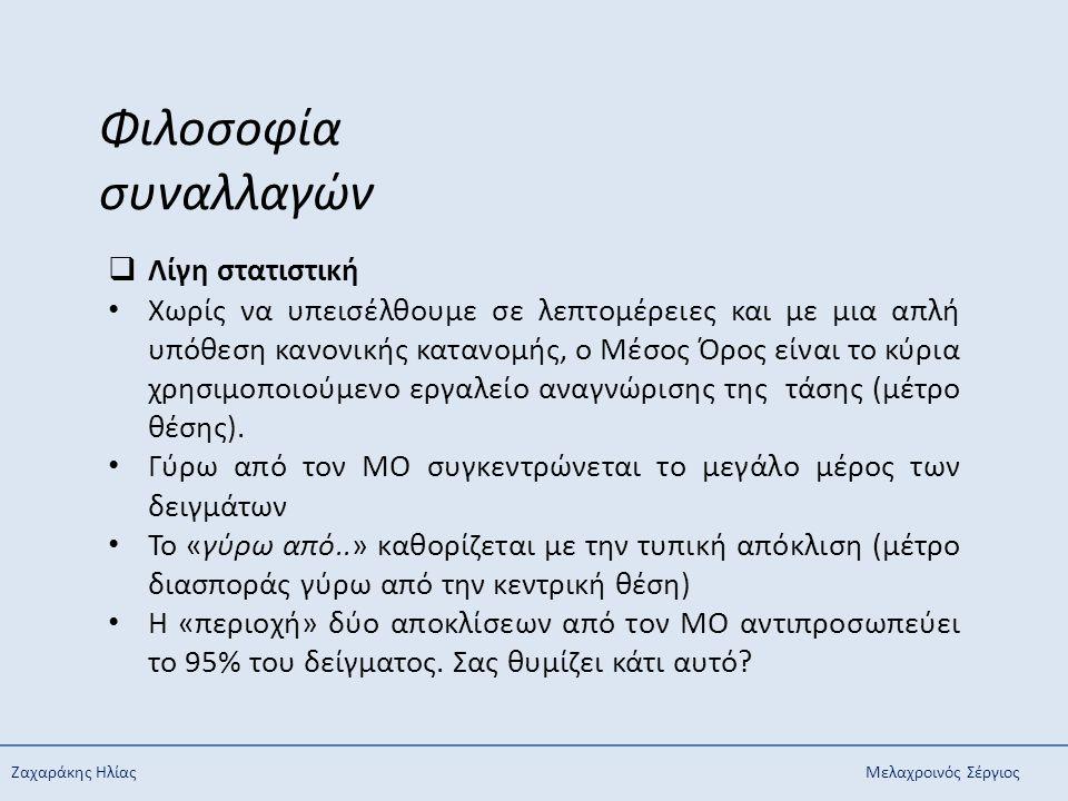 Ζαχαράκης ΗλίαςΜελαχροινός Σέργιος Φιλοσοφία συναλλαγών  Λίγη στατιστική Χωρίς να υπεισέλθουμε σε λεπτομέρειες και με μια απλή υπόθεση κανονικής κατα