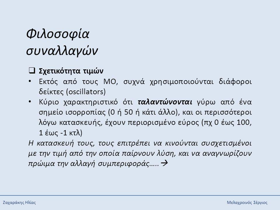 Ζαχαράκης ΗλίαςΜελαχροινός Σέργιος Φιλοσοφία συναλλαγών  Σχετικότητα τιμών Εκτός από τους ΜΟ, συχνά χρησιμοποιούνται διάφοροι δείκτες (oscillators) Κ