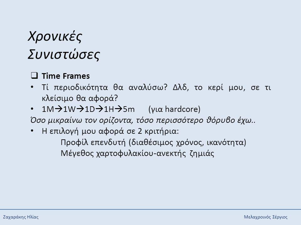 Ζαχαράκης ΗλίαςΜελαχροινός Σέργιος Χρονικές Συνιστώσες  Time Frames Τί περιοδικότητα θα αναλύσω? Δλδ, το κερί μου, σε τι κλείσιμο θα αφορά? 1M  1W 