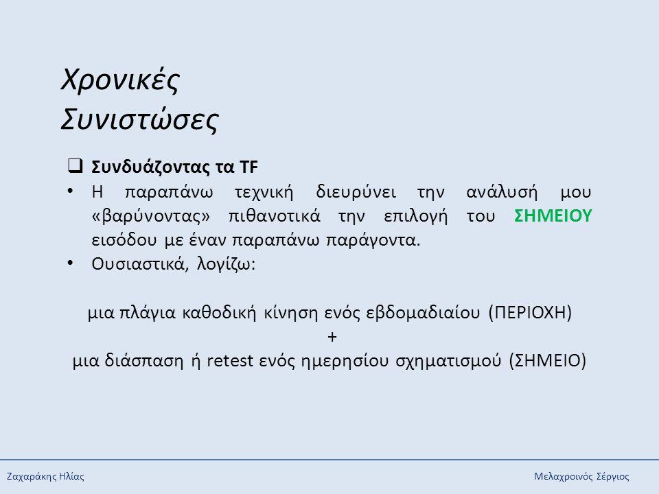 Ζαχαράκης ΗλίαςΜελαχροινός Σέργιος Χρονικές Συνιστώσες  Συνδυάζοντας τα TF Η παραπάνω τεχνική διευρύνει την ανάλυσή μου «βαρύνοντας» πιθανοτικά την ε