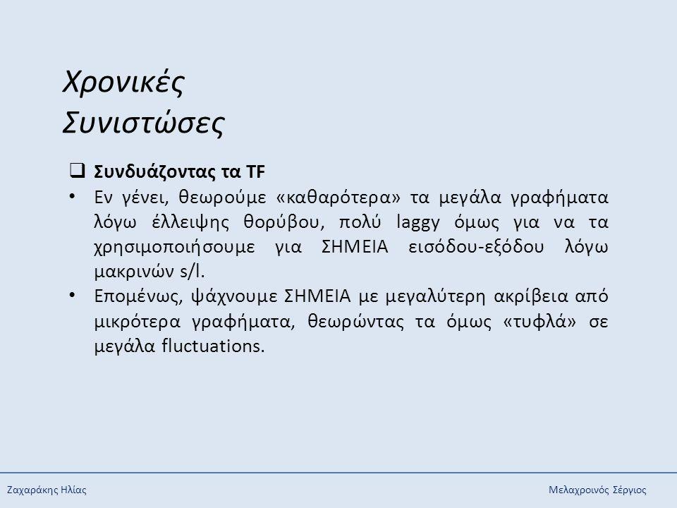 Ζαχαράκης ΗλίαςΜελαχροινός Σέργιος Χρονικές Συνιστώσες  Συνδυάζοντας τα TF Εν γένει, θεωρούμε «καθαρότερα» τα μεγάλα γραφήματα λόγω έλλειψης θορύβου,