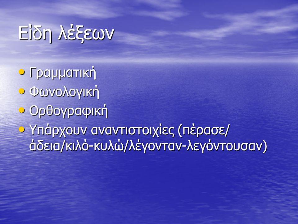 Είδη λέξεων Γραμματική Γραμματική Φωνολογική Φωνολογική Ορθογραφική Ορθογραφική Υπάρχουν αναντιστοιχίες (πέρασε/ άδεια/κιλό-κυλώ/λέγονταν-λεγόντουσαν) Υπάρχουν αναντιστοιχίες (πέρασε/ άδεια/κιλό-κυλώ/λέγονταν-λεγόντουσαν)
