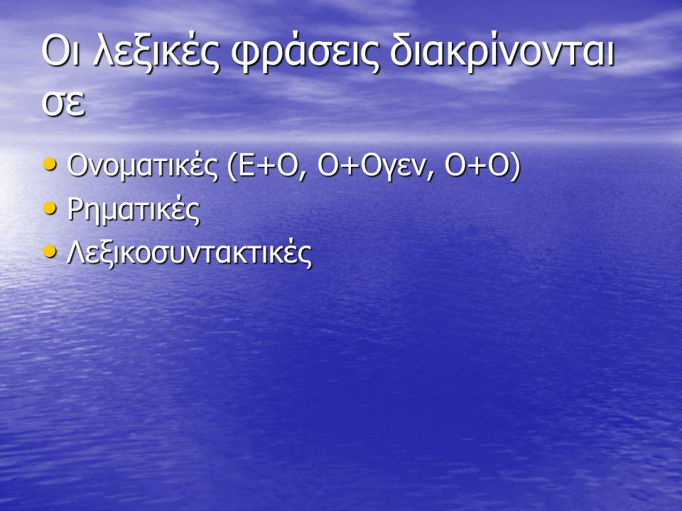 Οι λεξικές φράσεις διακρίνονται σε Ονοματικές (Ε+Ο, Ο+Ογεν, Ο+Ο) Ονοματικές (Ε+Ο, Ο+Ογεν, Ο+Ο) Ρηματικές Ρηματικές Λεξικοσυντακτικές Λεξικοσυντακτικές