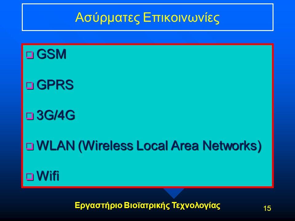Εργαστήριο Βιοϊατρικής Τεχνολογίας Ασύρματες Επικοινωνίες  GSM  GPRS  3G/4G  WLAN (Wireless Local Area Networks)  Wifi 15