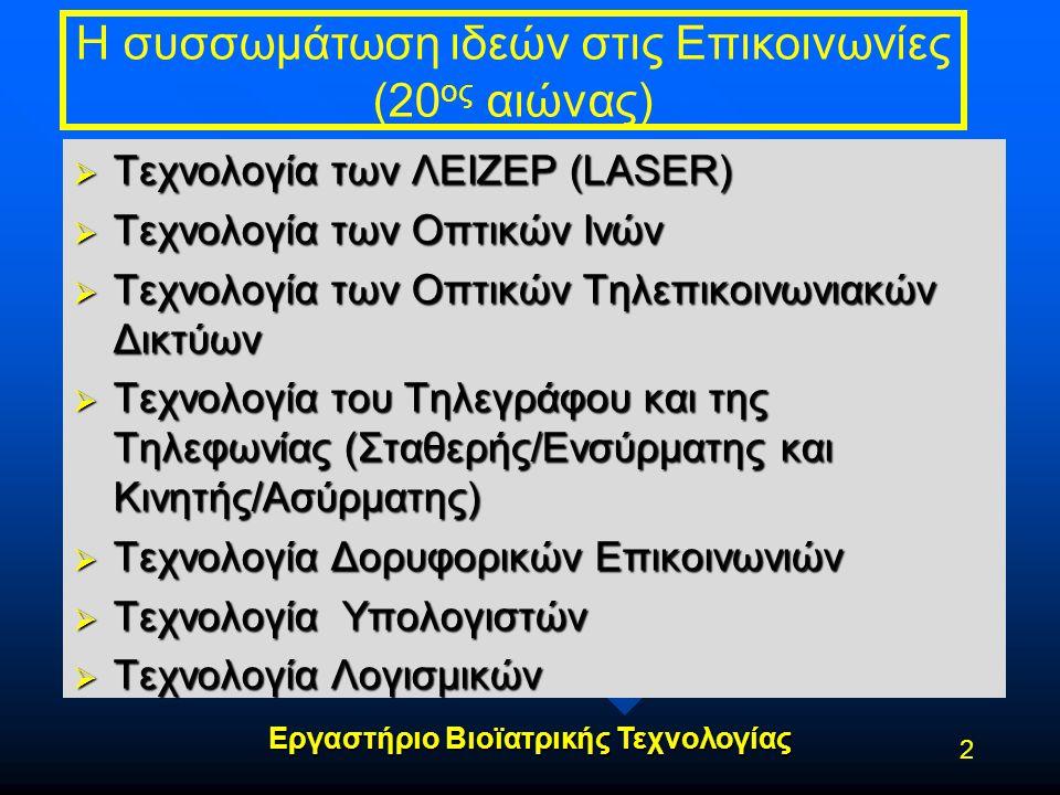 Εργαστήριο Βιοϊατρικής Τεχνολογίας Η συσσωμάτωση ιδεών στις Επικοινωνίες (20 ος αιώνας)  Τεχνολογία των ΛΕΙΖΕΡ (LASER)  Τεχνολογία των Οπτικών Ινών