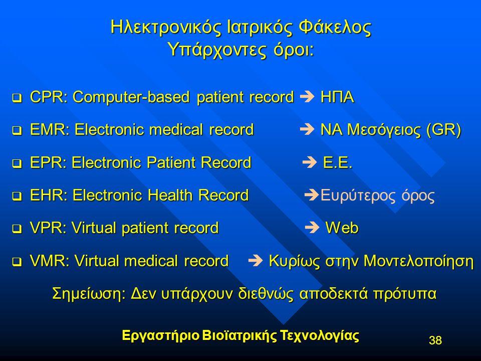 Εργαστήριο Βιοϊατρικής Τεχνολογίας 38 Ηλεκτρονικός Ιατρικός Φάκελος Υπάρχοντες όροι:  CPR: Computer-based patient record ΗΠΑ  CPR: Computer-based pa