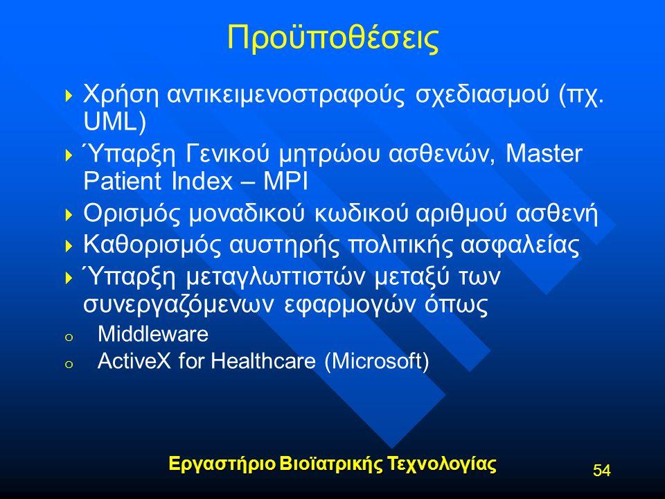 Εργαστήριο Βιοϊατρικής Τεχνολογίας Προϋποθέσεις   Χρήση αντικειμενοστραφούς σχεδιασμού (πχ. UML)   Ύπαρξη Γενικού μητρώου ασθενών, Master Patient