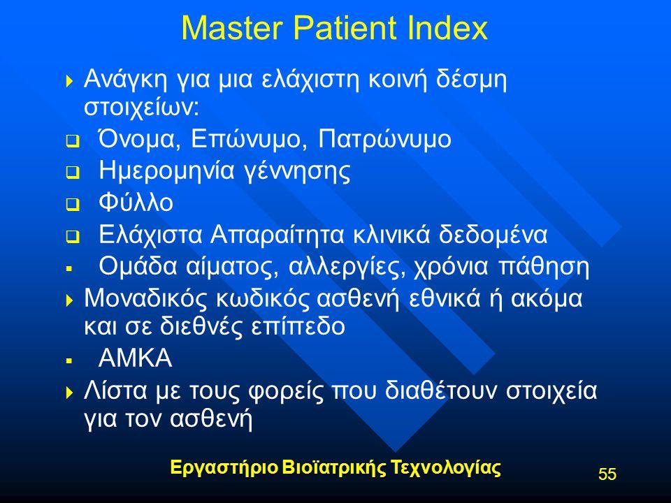 Εργαστήριο Βιοϊατρικής Τεχνολογίας Master Patient Index   Ανάγκη για μια ελάχιστη κοινή δέσμη στοιχείων:   Όνομα, Επώνυμο, Πατρώνυμο   Ημερομηνί