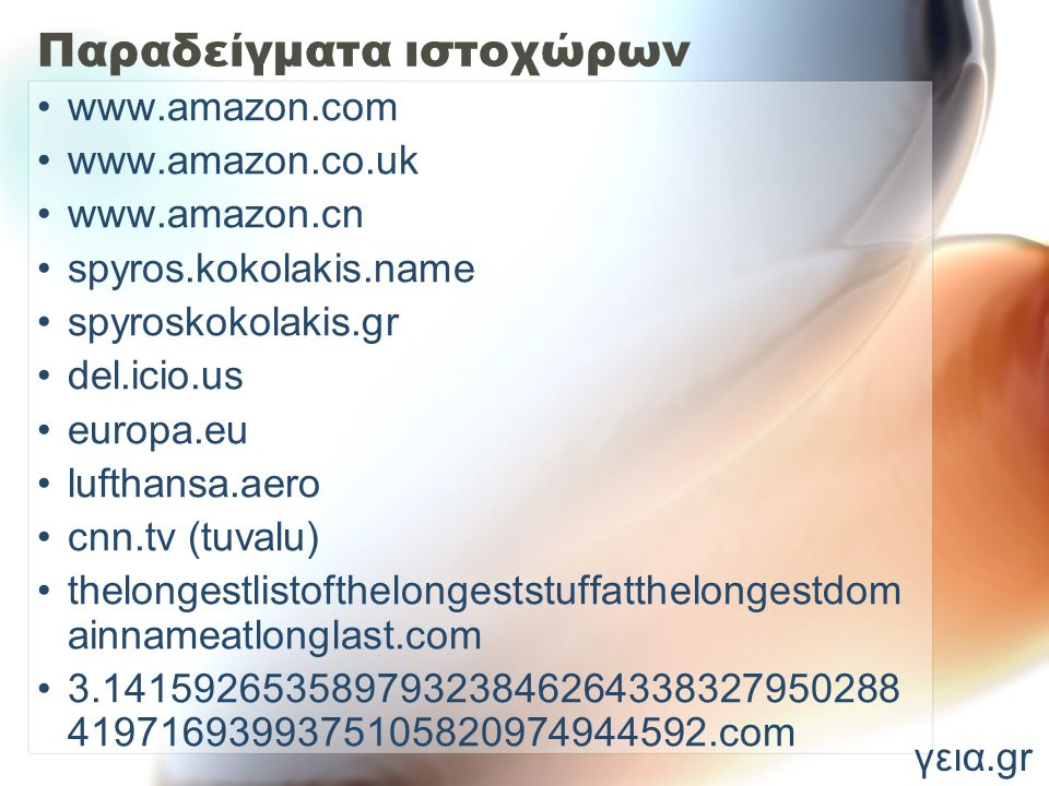 Παραδείγματα ιστοχώρων www.amazon.com www.amazon.co.uk www.amazon.cn spyros.kokolakis.name spyroskokolakis.gr del.icio.us europa.eu lufthansa.aero cnn