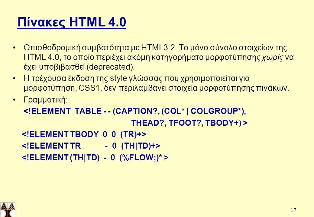 17 Πίνακες HTML 4.0 Οπισθοδρομική συμβατότητα με HTML3.2.