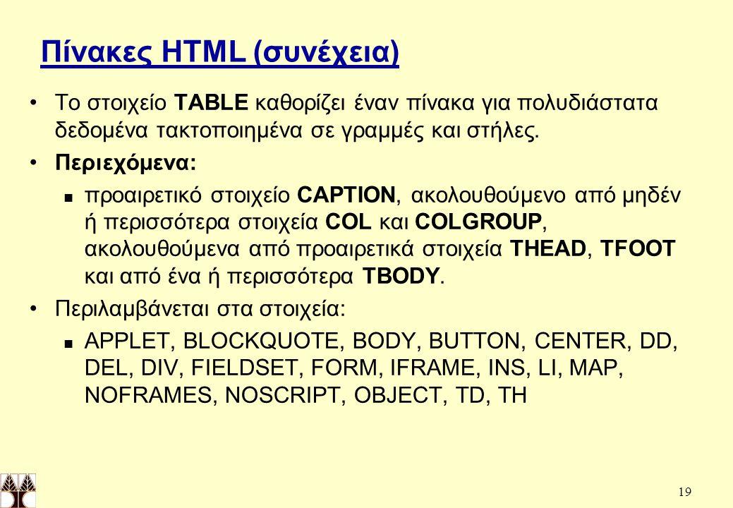 19 Πίνακες HTML (συνέχεια) Το στοιχείο TABLE καθορίζει έναν πίνακα για πολυδιάστατα δεδομένα τακτοποιημένα σε γραμμές και στήλες.