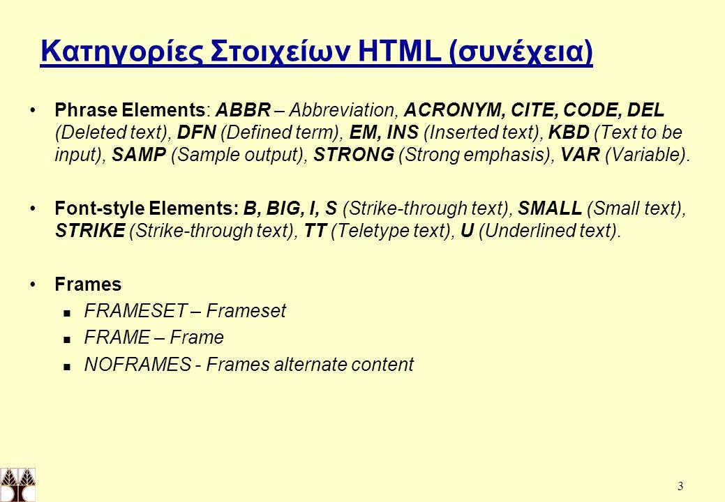 54 Στοιχείο FRAMESET Νεώτερες εκδόσεις της HTML υποστηρίζουν ένα νέο τύπο υπερκειμένων, τα πλαίσια (frames), τα οποία ορίζονται απο τον σημαντήρα FRAMESET.
