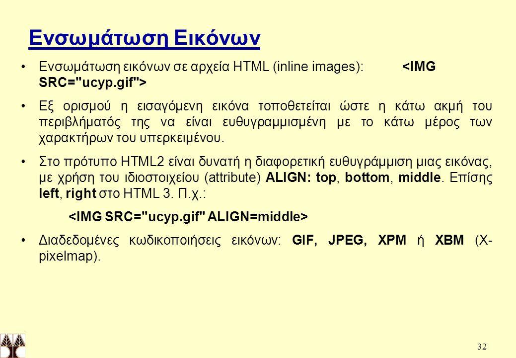 32 Ενσωμάτωση Εικόνων Ενσωμάτωση εικόνων σε αρχεία HTML (inline images): Εξ ορισμού η εισαγόμενη εικόνα τοποθετείται ώστε η κάτω ακμή του περιβλήματός της να είναι ευθυγραμμισμένη με το κάτω μέρος των χαρακτήρων του υπερκειμένου.