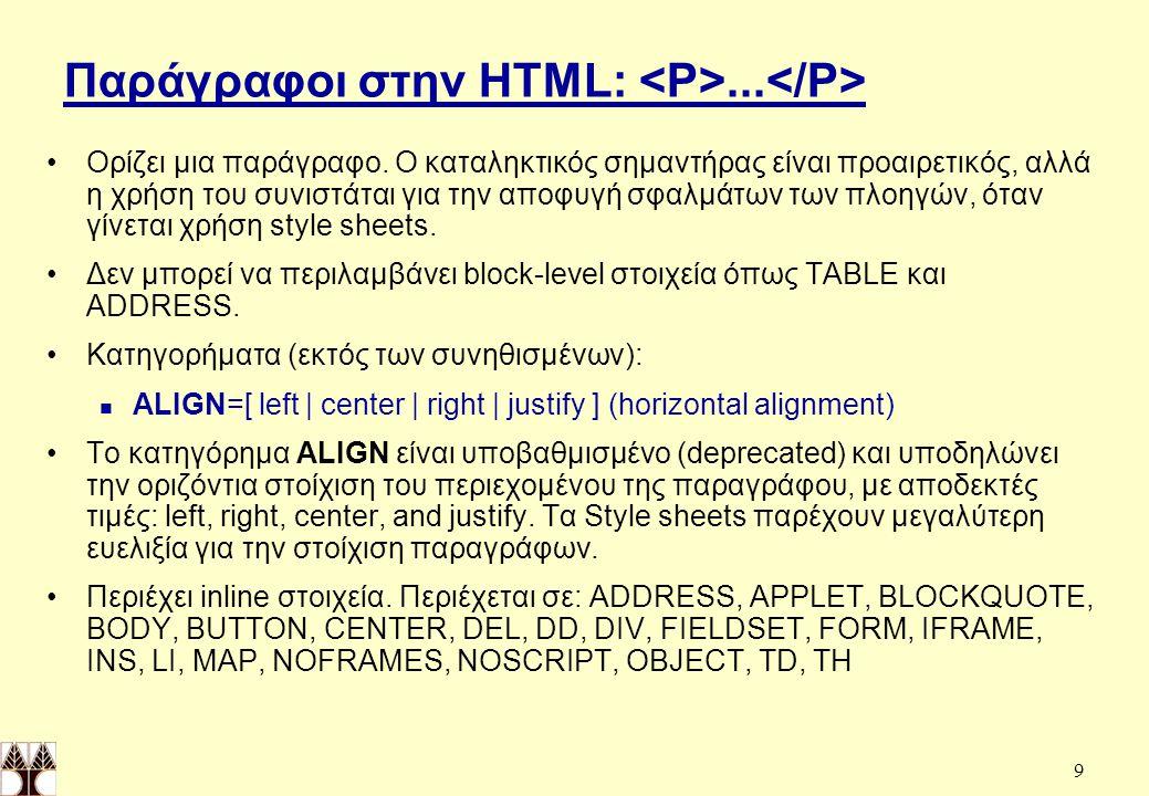 20 Πίνακες HTML (συνέχεια) TABLE - Table CAPTION - Table caption COLGROUP - Table column group COL - Table column THEAD - Table head TFOOT - Table foot TBODY - Table body TR - Table row TD - Table data cell TH - Table header cell