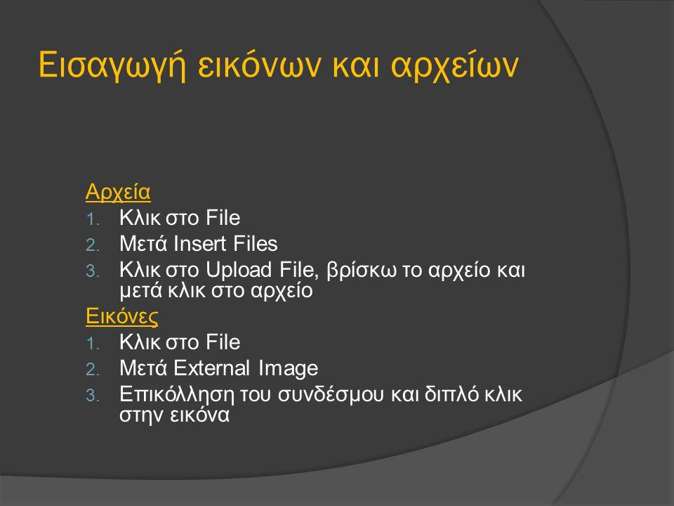 Εισαγωγή εικόνων και αρχείων Αρχεία 1. Κλικ στο File 2. Μετά Insert Files 3. Κλικ στο Upload File, βρίσκω το αρχείο και μετά κλικ στο αρχείο Εικόνες 1