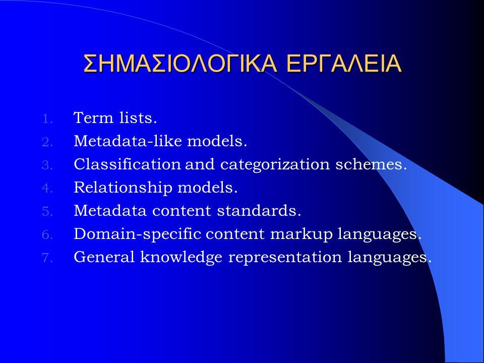 ΣΗΜΑΣΙΟΛΟΓΙΚΑ ΕΡΓΑΛΕΙΑ 1. Term lists. 2. Metadata-like models.