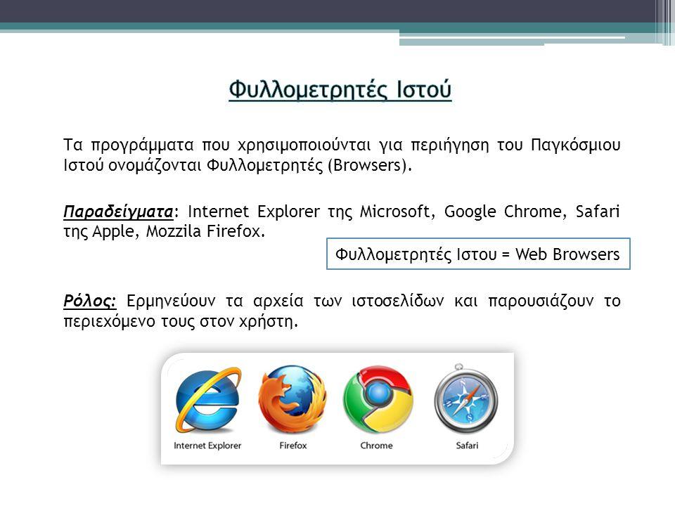Τα προγράμματα που χρησιμοποιούνται για περιήγηση του Παγκόσμιου Ιστού ονομάζονται Φυλλομετρητές (Browsers). Παραδείγματα: Internet Explorer της Micro