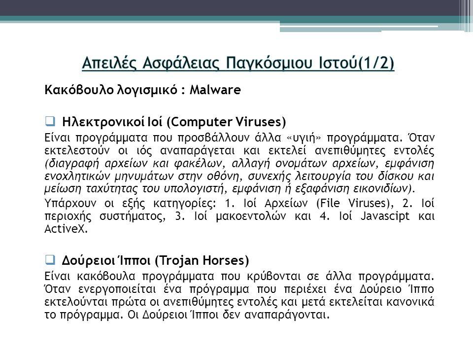 Κακόβουλο λογισμικό : Malware  Ηλεκτρονικοί Ιοί (Computer Viruses) Είναι προγράμματα που προσβάλλουν άλλα «υγιή» προγράμματα. Όταν εκτελεστούν οι ιός