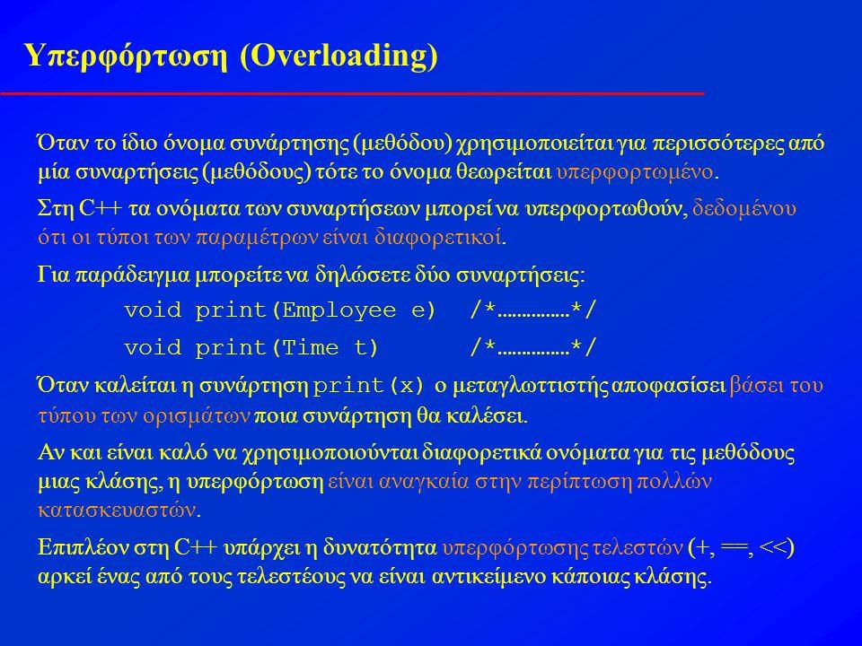 Υπερφόρτωση (Overloading) Όταν το ίδιο όνομα συνάρτησης (μεθόδου) χρησιμοποιείται για περισσότερες από μία συναρτήσεις (μεθόδους) τότε το όνομα θεωρείται υπερφορτωμένο.