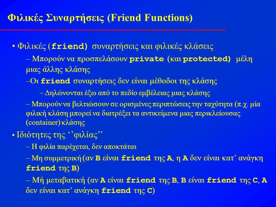 Φιλικές Συναρτήσεις (Friend Functions) Φιλικές ( friend) συναρτήσεις και φιλικές κλάσεις – Μπορούν να προσπελάσουν private (και protected) μέλη μιας άλλης κλάσης –Οι friend συναρτήσεις δεν είναι μέθοδοι της κλάσης – Δηλώνονται έξω από το πεδίο εμβέλειας μιας κλάσης – Μπορούν να βελτιώσουν σε ορισμένες περιπτώσεις την ταχύτητα (π.χ.