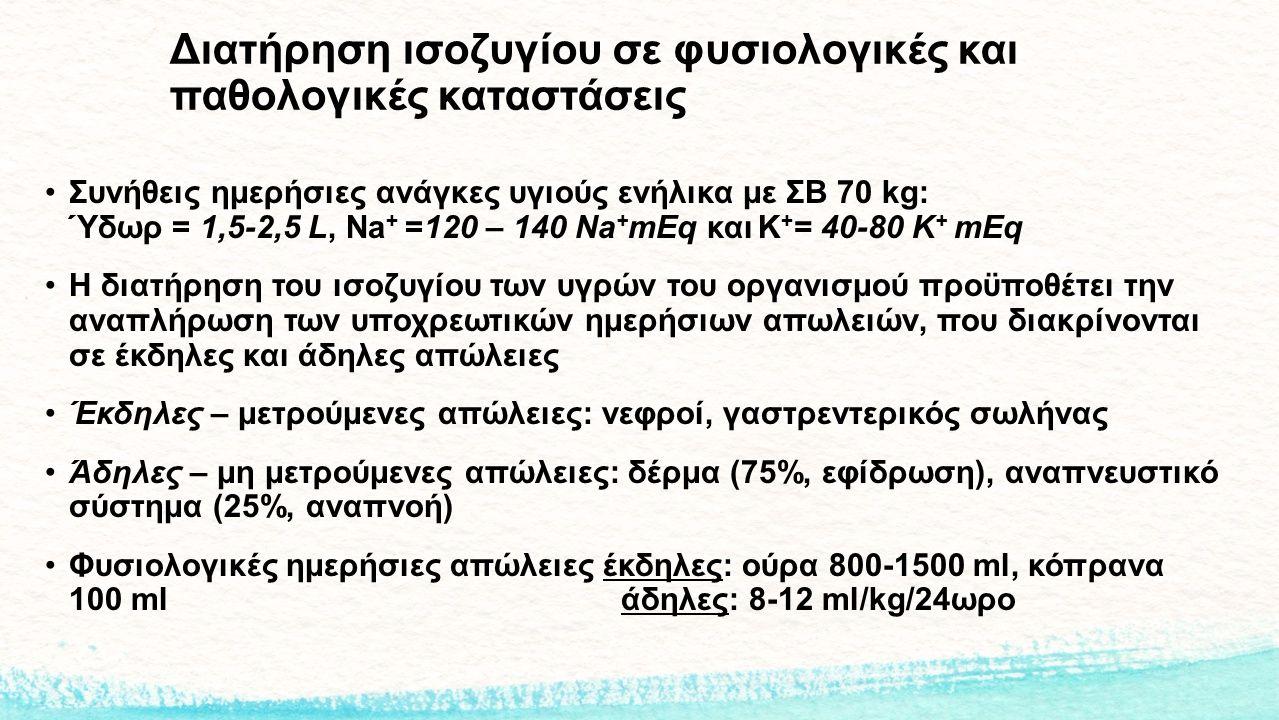 Διατήρηση ισοζυγίου σε φυσιολογικές και παθολογικές καταστάσεις Συνήθεις ημερήσιες ανάγκες υγιούς ενήλικα με ΣΒ 70 kg: Ύδωρ = 1,5-2,5 L, Na + =120 – 1