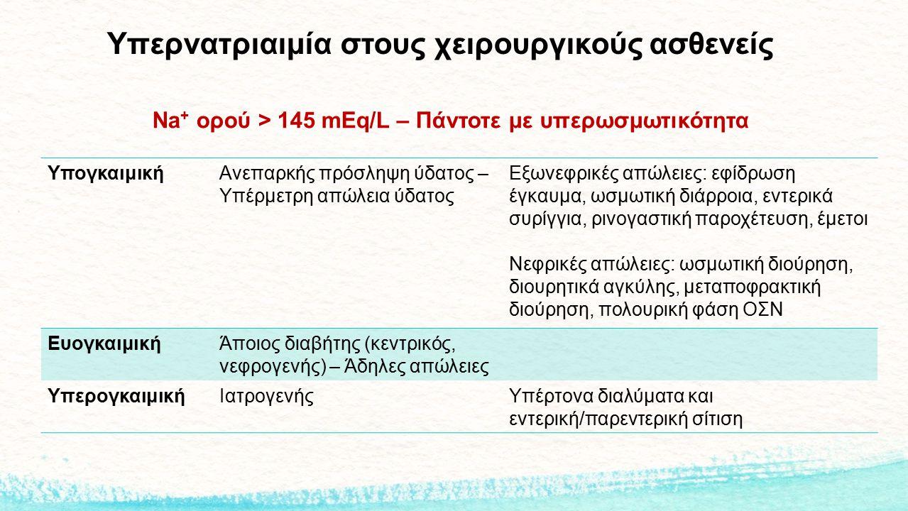 Υπερνατριαιμία στους χειρουργικούς ασθενείς Na + ορού > 145 mEq/L – Πάντοτε με υπερωσμωτικότητα ΥπογκαιμικήΑνεπαρκής πρόσληψη ύδατος – Υπέρμετρη απώλε