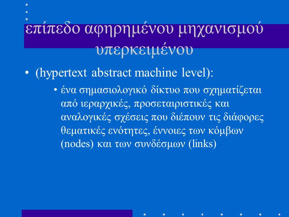 επίπεδο αφηρημένου μηχανισμού υπερκειμένου (hypertext abstract machine level): ένα σημασιολογικό δίκτυο που σχηματίζεται από ιεραρχικές, προσεταιριστι