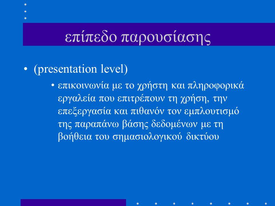 επίπεδο παρουσίασης (presentation level) επικοινωνία με το χρήστη και πληροφορικά εργαλεία που επιτρέπουν τη χρήση, την επεξεργασία και πιθανόν τον εμ