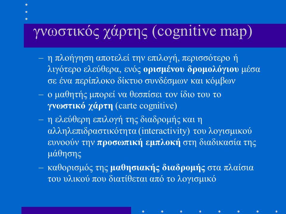 γνωστικός χάρτης (cognitive map) –η πλοήγηση αποτελεί την επιλογή, περισσότερο ή λιγότερο ελεύθερα, ενός ορισμένου δρομολόγιου μέσα σε ένα περίπλοκο δ
