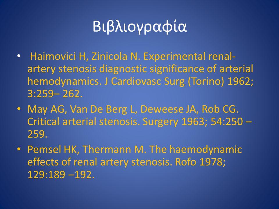 Βιβλιογραφία Haimovici H, Zinicola N. Experimental renal- artery stenosis diagnostic significance of arterial hemodynamics. J Cardiovasc Surg (Torino)