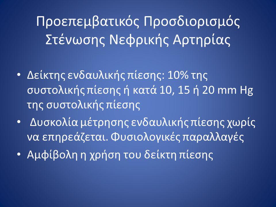 Προεπεμβατικός Προσδιορισμός Στένωσης Νεφρικής Αρτηρίας Δείκτης ενδαυλικής πίεσης: 10% της συστολικής πίεσης ή κατά 10, 15 ή 20 mm Hg της συστολικής π
