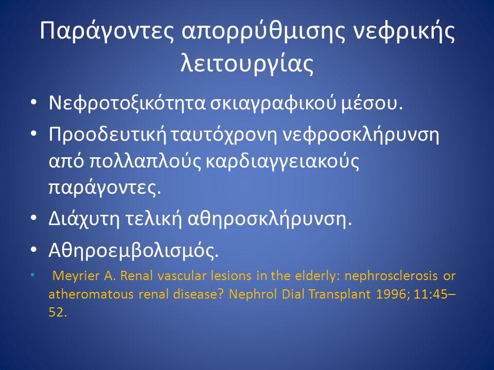 Παράγοντες απορρύθμισης νεφρικής λειτουργίας Νεφροτοξικότητα σκιαγραφικού μέσου. Προοδευτική ταυτόχρονη νεφροσκλήρυνση από πολλαπλούς καρδιαγγειακούς