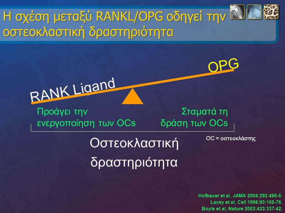 Η σχέση μεταξύ RANKL/OPG οδηγεί την οστεοκλαστική δραστηριότητα Hofbauer et al, JAMA 2004;292:490-5. Lacey et al, Cell 1998;93:165-76. Boyle et al, Na